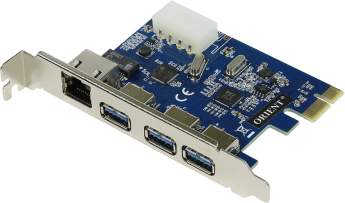 Контроллер ORIENT VA-3U3A88PE PCI-Ex to 4 port USB3.0 + Gigabit LAN