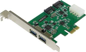 Контроллер ORIENT VA-3U2SA2PE PCI-Ex to 2 port USB3.0 + 2 port SATA 6GB/s